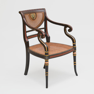 Regency Style Ebonized, Red Painted and Caned Armchair