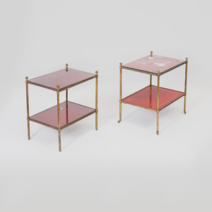 Two Similar Modern Gilt-Bronze-Mounted Chinese Export Red Lacquer Two-Tier Tables