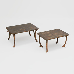 Two Chinese Lacquer Panels Mounted as Low Tables