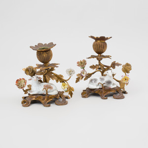 Pair of French Ormolu Candlesticks with Porcelain Recumbent Sheep