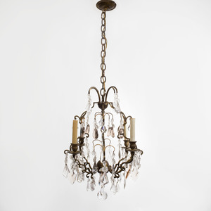 Continental Four-Light Rock Crystal Chandelier