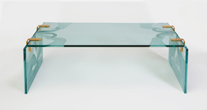 Lalique Style Brass Mounted Etched Glass Low Table
