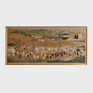 Asian School: Figures in a Landscape
