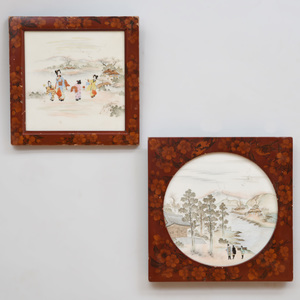 Two Japanese Porcelain Plaques in Lacquer Frames