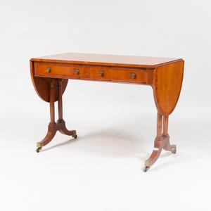 Regency Style Walnut and Mahogany Sofa Table