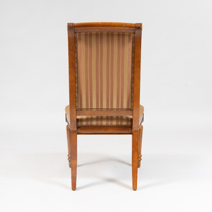 Set of Four Louis XVI Style Walnut Side Chairs, for Ethan Allen