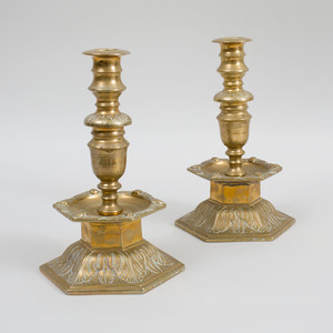 Pair of Continental Baroque Brass Candle Holders