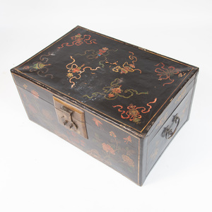 Chinese Brass-Mounted Painted Leather Trunk