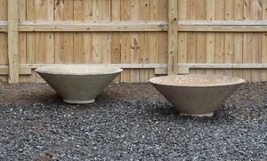 Pair of Modern Cast Concrete Planters