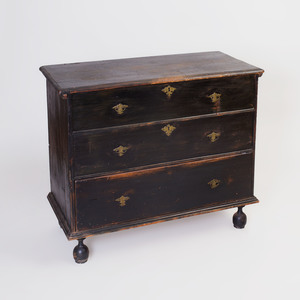 William and Mary Black Painted Blanket Chest