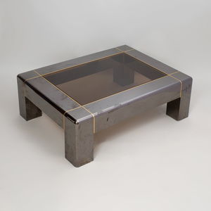 Karl Springer Brass-Mounted Gunmetal Steel and Smoky Glass Low Table