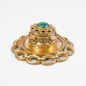 Napoleon III Brass-Mounted Malachite Inkwell