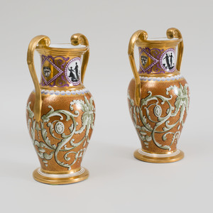 Pair of English Porcelain Two handled Vases, Possibly Coalport