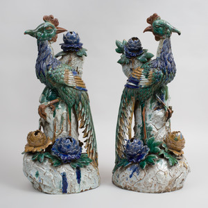 Pair of Large Chinese Polychrome Glazed Pottery Models of Phoenix