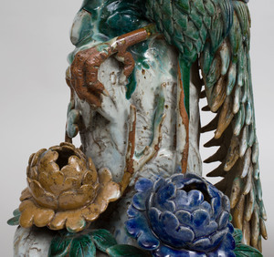 Pair of Large Chinese Polychrome Glazed Pottery Models of Phoenix