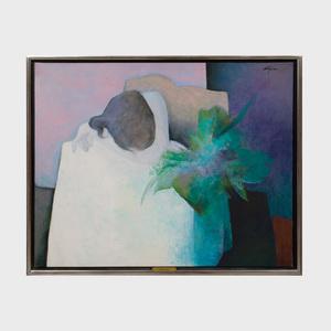 Claude Gaveau (b. 1940): Modele au bouquet vert