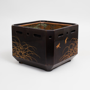 Japanese Black Lacquer and Parcel-Gilt Hibachi