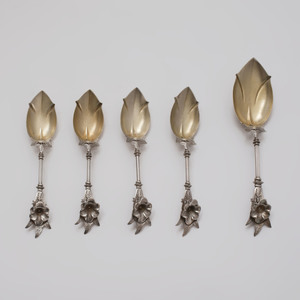 Set of Twelve George Sharp Dessert Spoons and Matching Serving Spoon