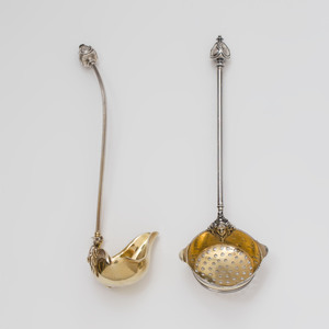 A George Sharp Silver Strainer and Ladle with Figural Details