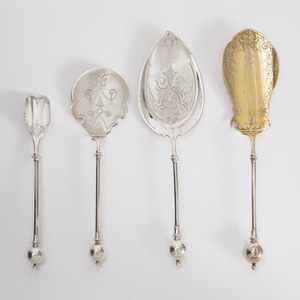Set of Four George Sharp Silver Serving Pieces with Ball Finials