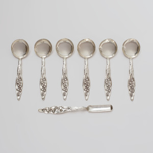 Set of Six Whiting Silver Boullion Spoons and a Marrow Spoon in the 'Lily of the Valley' Pattern