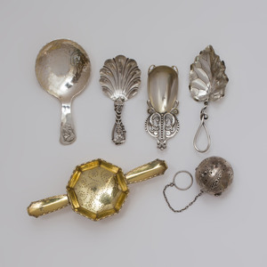 Group of American Silver Tea Wares and an Victorian Tea Caddy Spoon