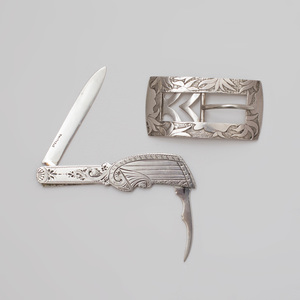 George W. Shiebler Silver Belt Buckle and Pocket Knife