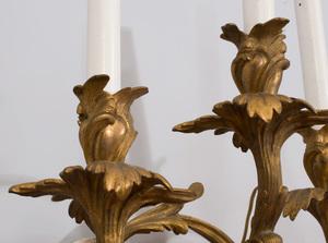 Set of Four Louis XV Style Gilt-Metal Sconces