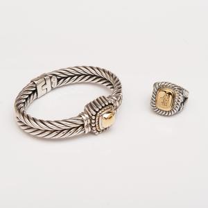 Italian Sterling Silver and 18k Gold Intaglio Ring and a Similar Sterling Silver and 18k Gold Bangle Bracelet