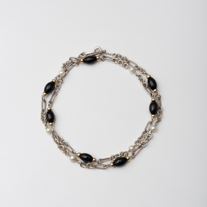 David Yurman Sterling Silver and 18k Gold, Onyx and Pearl Beaded Link Necklace