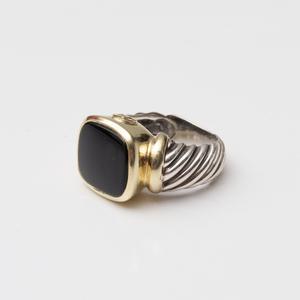 David Yurman Sterling Silver and 14k Gold Onyx Ring