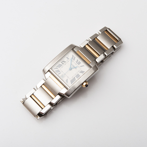Cartier Stainless Steel and Gold Tank Wristwatch