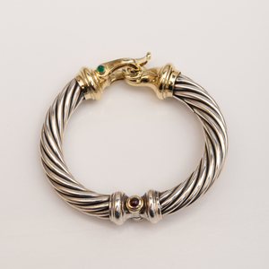David Yurman 14k Gold, Sterling Silver, Emerald and Ruby Bracelet