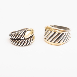 Two David Yurman Sterling Silver and 14k Gold Rings