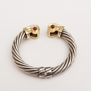 14k Gold, Sterling Silver and Ruby Cuff