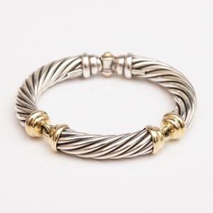 David Yurman Sterling Silver and 14k Gold Bracelet