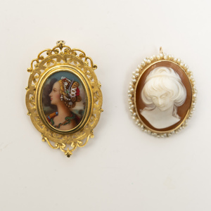 14k Gold Cameo Brooch with Seed Pearls and an 18k Gold Plated Brooch with Figure