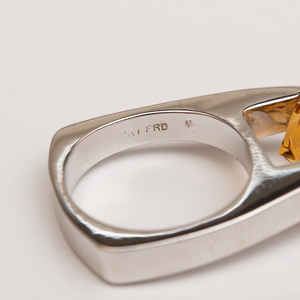 14k Gold, Mother-of-Pearl and Citrine Ring and a 14k White Gold and Citrine Ring