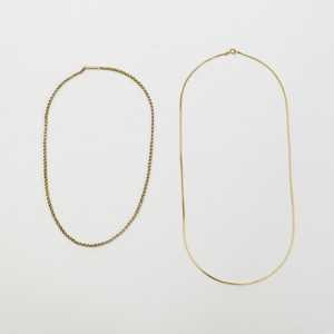 Two Low Karat Gold Link Necklaces