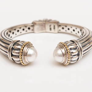 Caviar Sterling Silver, 18k Gold and Pearl Bangle