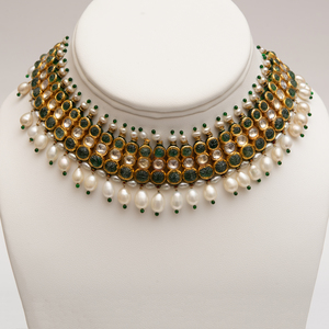 Indian Gold, Jaipur Enamel and Jeweled Necklace