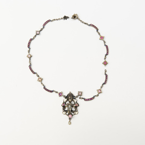 Victorian Silver, Enamel and Ruby Figural Necklace