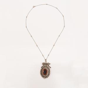 Georgian 14k Gold, Silver, Diamond and Cameo Pendant on Platinum and Diamond Chain