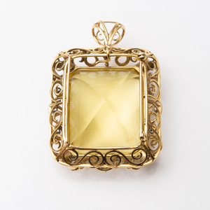 18k Gold, Citrine and Diamond Pendant/Brooch