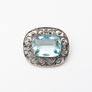 Russian Gold and Silver, Aquamarine and Diamond Brooch