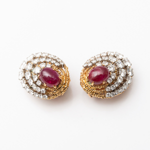 Pair of Van Cleef & Arpels 18k Gold Ruby and Diamond Earclips
