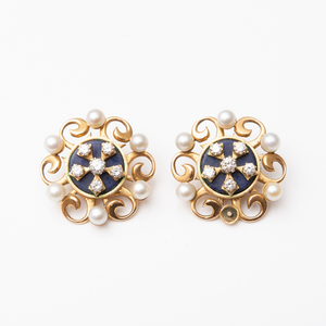 Pair of 14k Gold, Diamond, Lapis and Pearl Earclips