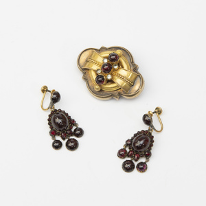 Victorian Gold and Garnet Brooch and a Pair of Similar Gilt-Metal Earrings