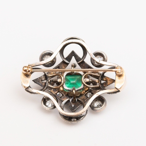 Silver, 14k Gold, Emerald and Diamond Brooch