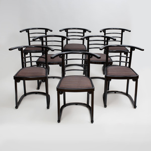 Set of Eight Josef Hoffman Ebonized Bentwood Fledermaus Café Chairs